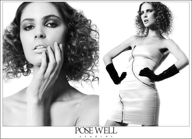 A pair of images from a test shoot of Alexandra by POSE WELL Studios