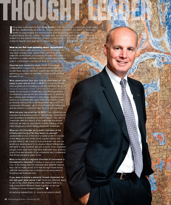 Northeast Florida Market President of Bank of America Greg Smith photographed by Agnes Lopez for 904 Magazine