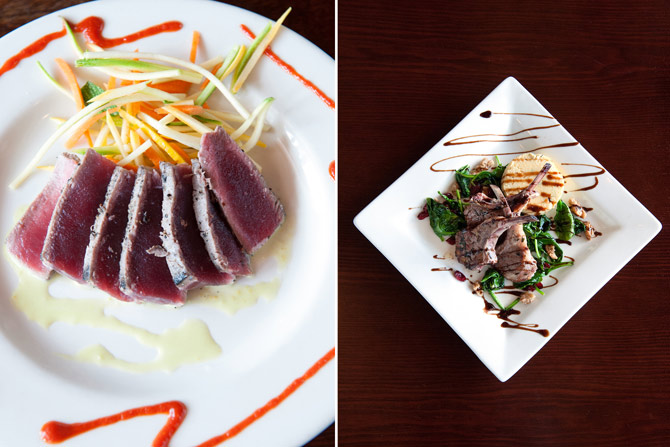 Photo of a seared tuna dish next to a photo of a lamb dish by Agnes Lopez
