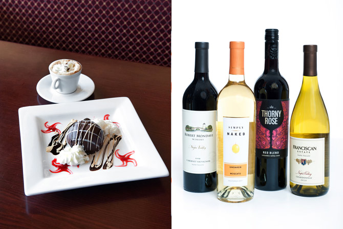 A dessert and in-studio picture of wine bottles