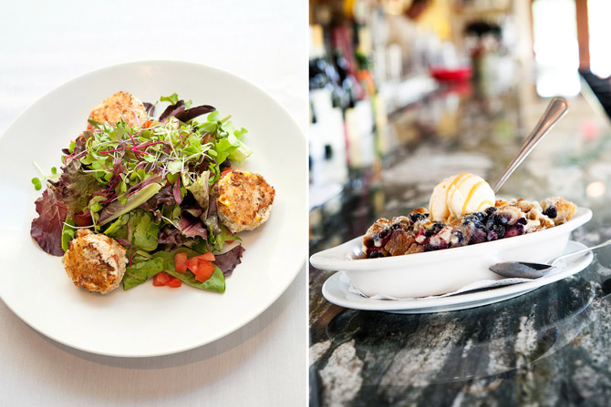 A photo of a salad with crab cakes next to a photo of the bread pudding from the Palm Valley Fish Camp