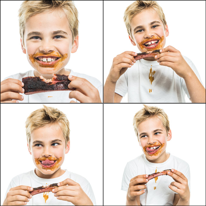 Pictures of a kid eating ribs