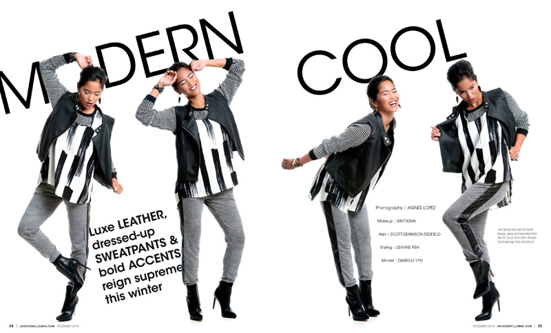 Modern Cool fashion editorial for the December 2014 issue of Jacksonville Magazine - photos by Agnes Lopez - page 1-2