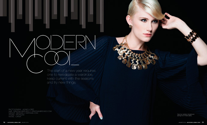 Modern Cool fashion editorial for Jacksonville Magazine January 2013 by Agnes Lopez 1 of 3