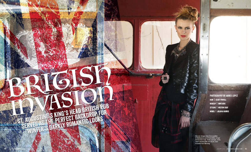 British Invasion fashion editorial for the January 2015 issue of Jacksonville Magazine - photos by Agnes Lopez - page 1