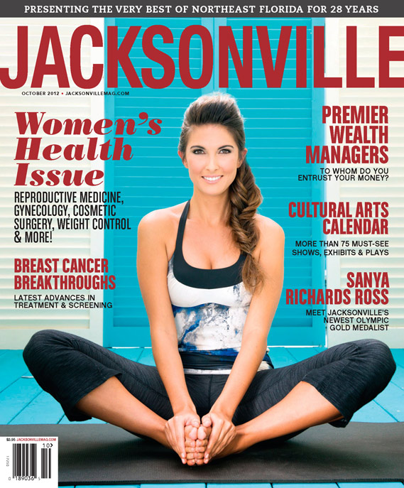 October cover of Jacksonville Magazine by Agnes Lopez featuring Georgina in a yoga pose