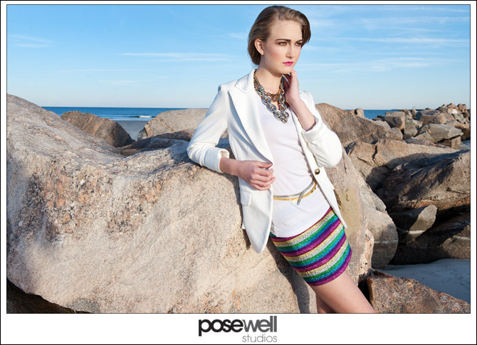 Model Niamh test shoot on the beach by POSE WELL Studios