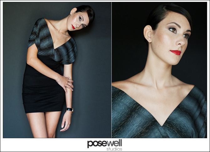 Two images from yesterday of a model against a gray backdrop by Agnes Lopez for Pose Well Studios