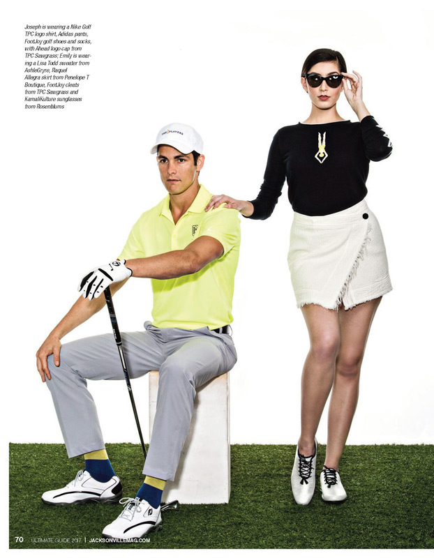Joseph is wearing a Nike Golf TPC logo shirt, Adidas pants, FootJoy golf shoes and socks, with Ahead logo cap from TPC Sawgrass; Emily is wearing a Lisa Todd sweater from AshleGryre, Raquel Allegra skirt from Penelope T Boutique, FootJoy cleats from TPC Sawgrass and Kamali Kulture sunglasses from Rosenblums