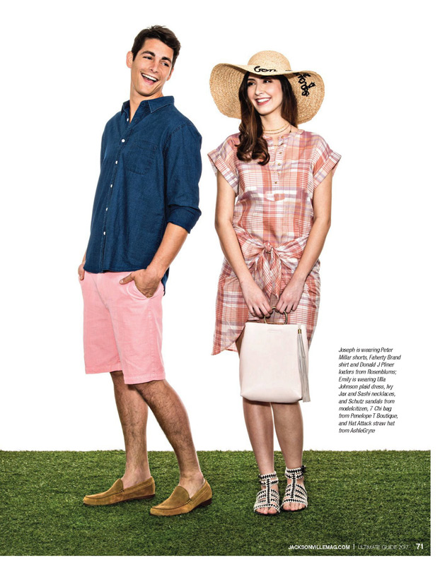 Joseph is wearing Peter Millar shorts, Faherty Brand shirt and Donald J Pliner loafers from Rosenblums; Emily is wearing Ulla Johnson plaid dress, Ivy Jax and Sashi necklaces, and Schutz sandals from modelcitizen, 7 Chi bag from Penelope T Boutique, and Hat Attack straw hat from AshleGryre