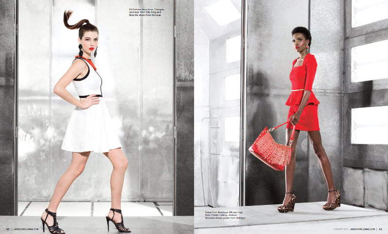 Seeing Red fashion editorial for Jacksonville Magazine's February 2013 issue by Agnes Lopez