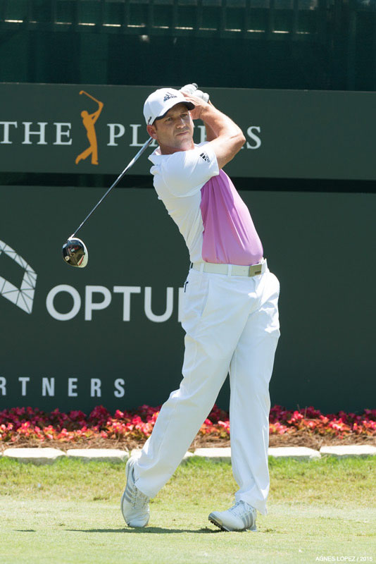 Sergio Garcia tees off at hole number one at TPC Sawgrass for the final round of THE PLAYERS - photo by Agnes Lopez