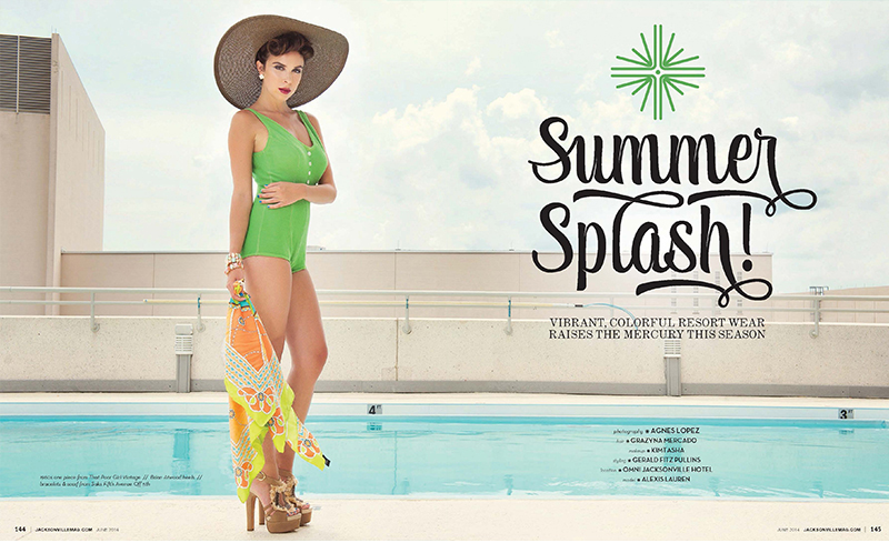 Summer Splash swimsuit editorial for Jacksonville Magazine June 2014 by Agnes Lopez