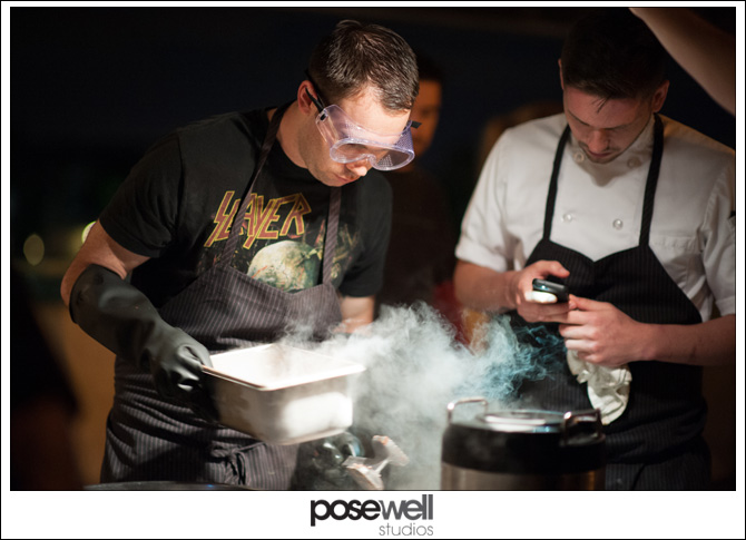 Chef Waylon Rivers making liquid Nitrogen frozen mousse