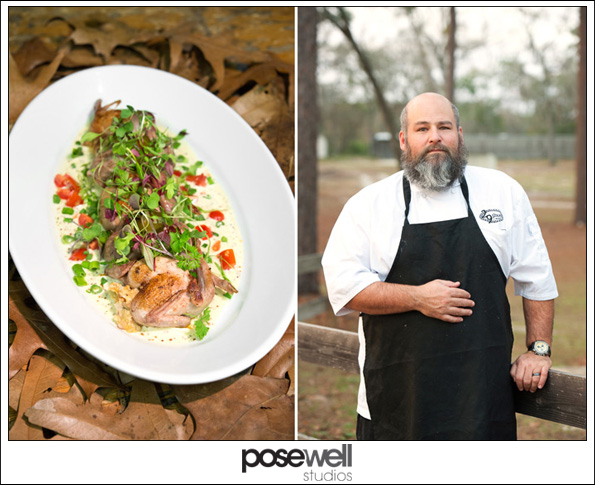 Chef Scott Schwartz of 29 South and his dish of quail, crawfish and cordbread stuffing and Cajun boar boudin