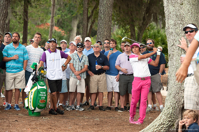 Rickie Fowler hitting out of the woods at TPC Sawgrass from THE PLAYERS 2013 by Agnes Lopez