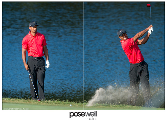Tiger Woods hitting his shot on the 14th hole after going in the water - photos by Agnes Lopez