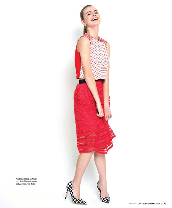 Weston crop top and midi skirt from Therapie, shoes and earrings from ALDO - featured in the Tropical Punch fashion editorial for the May 2015 issue of Jacksonville Magazine - photo by Agnes Lopez
