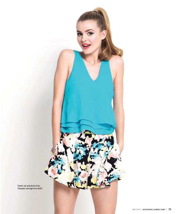 Parker top and shorts from Therapie, earrings from ALDO - featured in the Tropical Punch fashion editorial for the May 2015 issue of Jacksonville Magazine - photo by Agnes Lopez