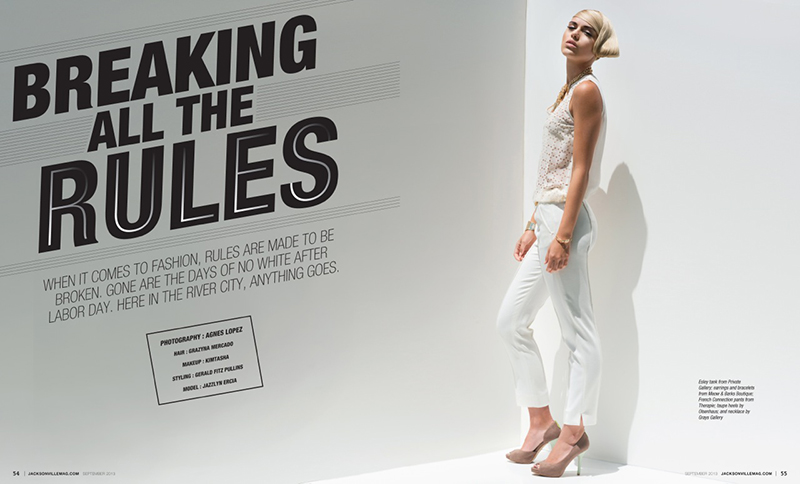 Breaking All The Rules fashion editorial by Agnes Lopez for Jacksonville Magazine - September 2013