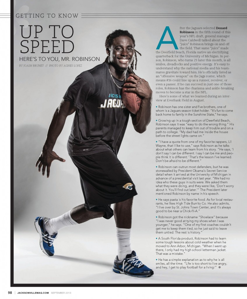Michigan QB and Jaguars Offensive Weapon Denard Robinson portrait by Agnes Lopez for Jacksonville Magazine - September 2013